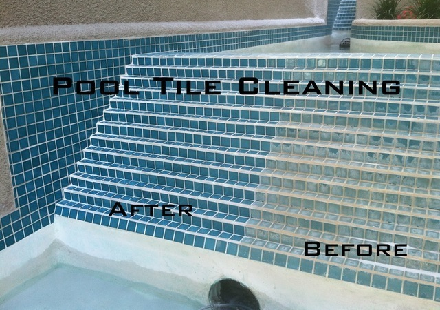 Before and After Pool Tile Cleaning